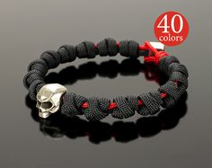 Skull Bracelet Black skull hand bracelet with big 15 mm от GATURA