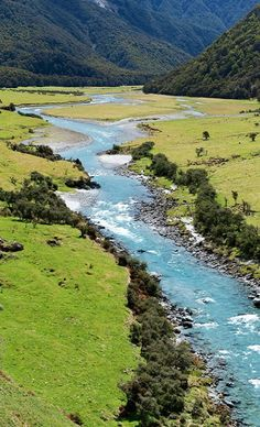 Matukituki River flows out of Mt. Aspiring National Park, South Island, New Zealand
