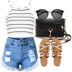 253. High Waisted Shorts Outfit by kgarcia8427 on Polyvore featuring polyvore fashion style Topshop KYMA Rebecca Minkoff Yves Saint Laurent clothing Summer Spring