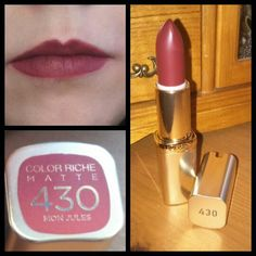 """Ľoreal paris lipstick bought for £6.99 from boots 430 mon jules matte colour  This what it looks like. #loreal #paris #lipstick #boots #red #pink #mon…"""