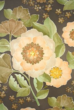 Vintage Retro Floral Wallpaper. Original vintage 1950s floral wallpaper with a soft color flower pattern on a brown background. Vintage Retro Floral Wallpaper
