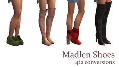 Shoes! On pantless bottoms, AF only. Contain all morphs. Originals by Madlen. ~sexy toes~ on the last one. Just the colors as shown in the preview. Enjoy! Download