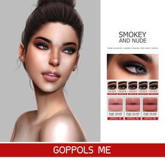 The Sims 4 Smokey and Nude Set by goppolsme Mauve Lipstick, Lime Crime Lipstick, Sims 4 Game Mods, Sims Mods, Mac Chili Lipstick, Pillow Talk Lipstick, The Sims 4 Skin, Sims 4 Cc Makeup, Best Sims