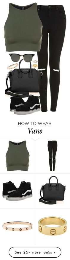 Untitled #4942 by eleanorsclosettt on Polyvore featuring Topshop, Onzie, Givenchy, Vans, Ray-Ban and Cartier