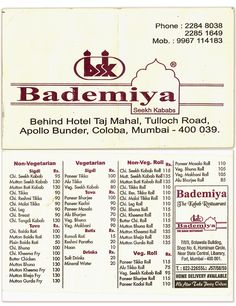 Mumbai, India. Menu card used by Bademiya - a classy little upmarket street food stall in Colaba.