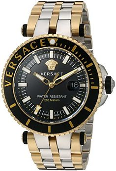 Versace Mens VRace Swiss Quartz Stainless Steel Casual Watch ColorTwo Tone Model VAK040016 ** Check out the image by visiting the link.