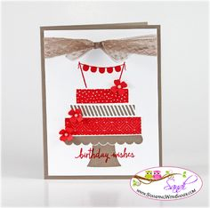 Stampin Up Build a Birthday - card by Sandi @ www.stampingwithsandi.com - free tutorial shared for this card