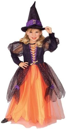 Adorable orange and black Halloween Witch Costumes just perfect  for little girls