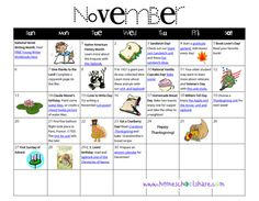 November to-do calendar with links to free activities and printables.