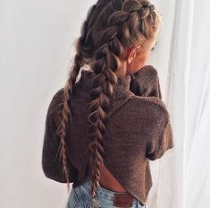 thick upside down double braids