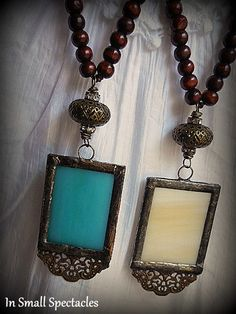 ORIGINAL Soldered Stained Glass and Wood Bead by InSmallSpectacles