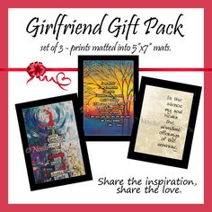 Girlfriends print Gift pack - set of 3 uplifting matted prints. Early holiday gifts