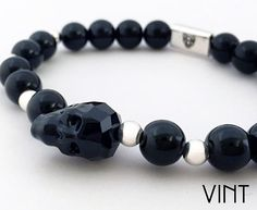Our beautiful #Swarovski Skull with 8mm black onyx semi-precious stone and 925 Sterling Silver ✨  #vint #vintluxury #vintlife #luxe #luxury #theluxurylife #lifestyle #luxo #bracelet #jewelry #fashion #style #menswear #men #mensfashion #gentlemen #handmadejewelry #lovefashion #skull #menjewelry #black #menwithclass #amazing #like #follow #gentlemanstyle #picoftheday