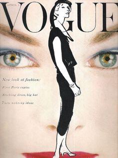 Vogue-April 1954    Cover:Illustration of Rene Gruau.  Vogue,April 1954.