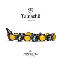 Tamashii - Bracciale originale tibetano realizzato con pietre naturali Agata Gialla e legno orientale autentico con SIMBOLI MANTRA incisi a mano