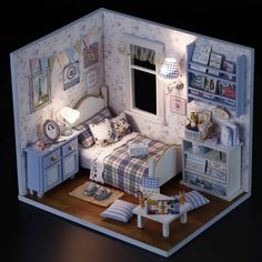1 DIY Wooden Dolls House Miniature Kit w Cover LED Light Dollhouse All Furniture | eBay