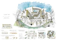 ケンチクイラストレーター、イスナデザイン『よこぬけの家』 #建築 #パース #イラスト #プレゼン #ボード #illustration #isnadesign #landscape #design #presentation