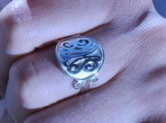 silver ring SSR3 with  23  monogrammed initials by kraftshop, $49.00