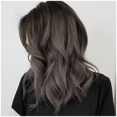 #ShortHair #WavyHair #Hairstyles Dark grey ombr� hair color, medium wavy hairstyle, click now to see more...