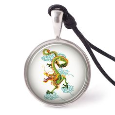 vietguild Dragon Painting Necklace Pendants Pewter Silver