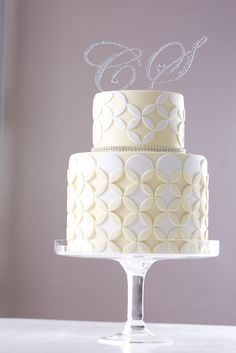Wedding Cake - CakeStar wedding cake featuring diamontes and wedding band quilting design re-created from fondant icing. Modelled off my own wedding cake! Jade Lipton xx