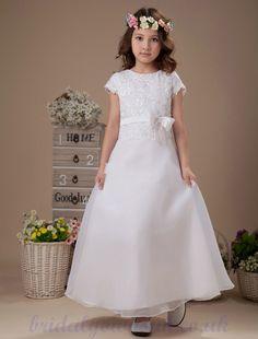 Custom Color White Short Sleeves Dress For Flower Girl