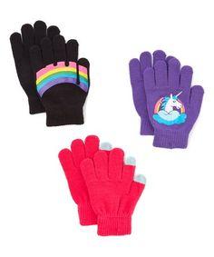 Love this Unicorn Gloves Set on #zulily! #zulilyfinds