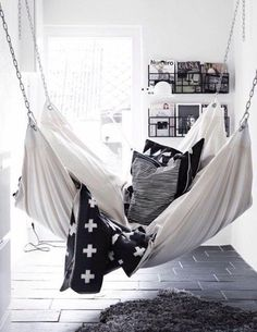 Home accessory: hammock chair sofa bedroom living room home decor black and white cozy lazy day