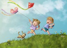 pictures of children flying kites | Flying Kites Colored by alexasrosa