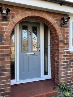 A beautiful Solidor in French Grey fitted near Stockport. Grey Composite Front Door, Grey Front Doors, Beautiful Front Doors, Front Door Entrance, House Front Door, Painted Front Doors, Front Door Colors, House Doors, Craftsman Front Doors