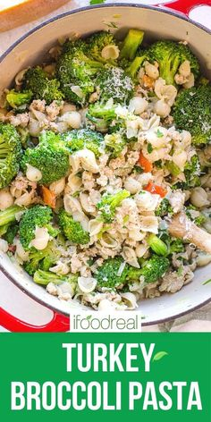 A 30 minute pasta meal with ground turkey and broccoli cooked in one pot. You will want to repeat this quick, easy, healthy and kid friendly weeknight dinner recipe again and again. Ground Turkey Pasta, Healthy Ground Turkey, Ground Turkey Recipes, Healthy Breakfast Recipes, Clean Eating Recipes, Healthy Recipes, Healthy Food, Easy Recipes, Broccoli Pasta
