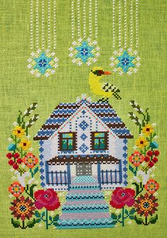 The House with the Mezzanine (Anton Chekhov)cross stitch patternby Gera! by Kyoko Maruoka Cross Stitching, Cross Stitch Embroidery, Embroidery Patterns, Cross Stitch House, Modern Cross Stitch Patterns, Fiber Art, Needlepoint, Needlework, Sewing Projects