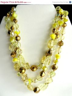 Hattie Carnegie Necklace, Vintage Three Strand Yellow, Gold Crystal, Art Glass Beads Choker