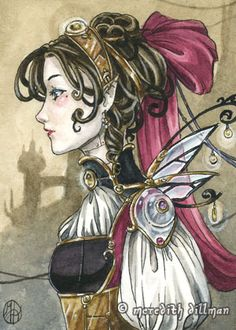 Steampunk Doll By Meredith Dillman. Meredith Dillman is an artist &d illustrator originally from Minnesota and lives in Wisconsin.  She is known for her colorful watercolors which blend Art Nouveau, Fantasy & Asian influences. She enjoys painting fairies, woodland creatures & other fantasy & medieval themes. She is inspired by Pre-Raphaelite artists, Japanese comics, & turn-of-the-century book illustration.