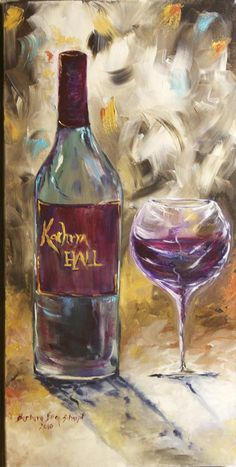 Original Acrylic on Canvas, 15x24, kathryn hall wine, hall wine, cabernet sauvignon, red wine, wine glass painting, wine bottle painting