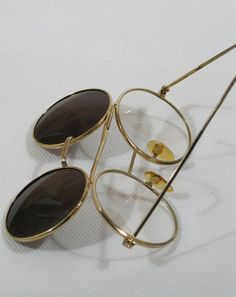 Vintage Eyeglasses Round Goldtone with Flip Sunglasses Small
