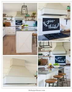 Sharing our fixer upper inspired farmhouse kitchen reveal featuring white shaker cabinets, white oak floors Industrial Farmhouse Kitchen, Modern Farmhouse Kitchens, Home Kitchens, Farmhouse Decor, Laminate Cabinets, Oak Kitchen Cabinets, Kitchen Hoods, Fixer Upper, White Shaker Cabinets