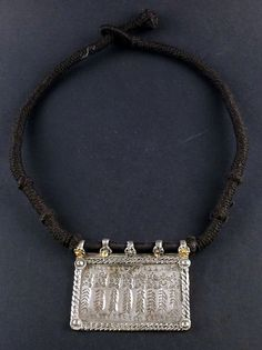 Rajasthan old silver engraved pendant amulet - indian jewelry - hindu amulet - jewellery from Rajasthan - ethnic jewellery