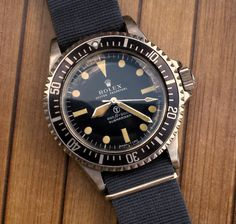The Holy Grail of watches: rare Rolex Milsub, incredibly expensive if you find one.