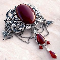 Silver Red Choker Gothic Victorian Jewelry Carnelian Agate and Swarovski Crystal  €65.00
