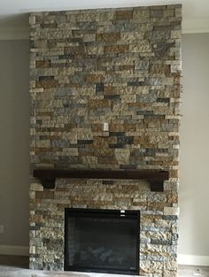 Airstone fireplace made with mix of Autumn mountain and Spring Creek