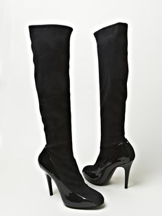Maison Martin Margiela women's Defile Patent Leather and Suede Boots in black [I think these are some of teh most sexy stylish boots I've seen and they are on sale!]
