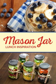 These Exceptionally Delicious Mason Jar Meals Wil Brighten Up Your Day! Here are 5 of our favorite mason jar lunches that can be prepared the night before, making your mornings that much easier! Mason Jar Lunch, Mason Jar Meals, Meals In A Jar, Mason Jars, Mason Jar Breakfast, Lunch Snacks, Lunch Recipes, Cooking Recipes, Healthy Recipes
