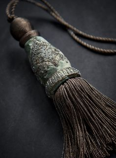 Our Claudia key tassel is hand-embroidered on Capri silk velvet - pistachio…