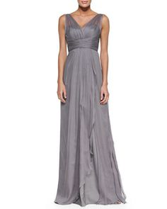 AMSALE Graphite, Mesh-Overlay Pleated-Bodice, Silk Formal Gown. - http://www.ebay.com/itm/-/121682490284?roken=cUgayN