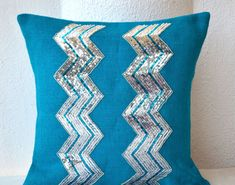 Items similar to Blue Burlap Pillow Cover with Silver Sequin in Chevron Design Holiday Decor Decorative Pillow Case Valentine Gift Cushion Throw Pillow on Etsy Chevron Throw Pillows, Burlap Pillows, Toss Pillows, Decorative Throw Pillows, Accent Pillows, Chevron Home Decor, Blue Home Decor, Sequin Pillow, Blue Accents