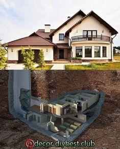 Luxury house design Luxury house design in 2020 Underground House Plans, Underground Shelter, Underground Homes, Casa Bunker, Bunker House, Future House, Hidden Rooms, Hidden Spaces, Safe Room