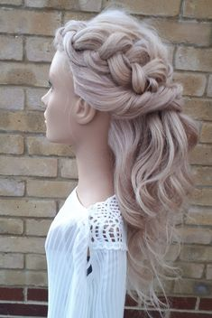 With beach waves & dutch Braid Wedding Hairdressers, Wedding Braids, Civil Ceremony, Bride Hairstyles, On Your Wedding Day, Ponytail, Bridal Hair, Beach Waves, Long Hair Styles