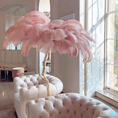 Feather Lamp, Luxury Interior, Interior Design, Glam House, Nail Room, Pink Feathers, Ostrich Feathers, White Armchair, Pink Themes
