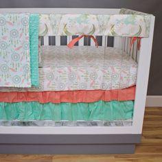 Green Fox Crib Bedding Crib Sheet Skirt Rail Cover Boppy Changing Pad Cover Minky Blanket Curtain Girls Baby Quilt September
